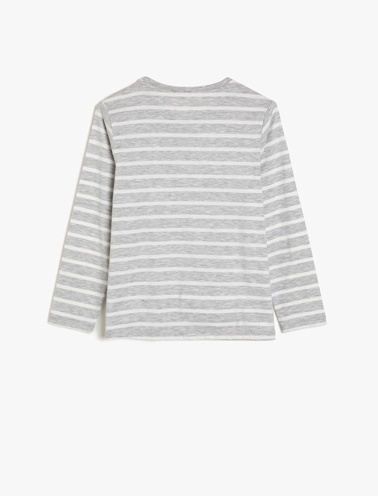 Koton Kids Pul Detaylı T-Shirt Gri
